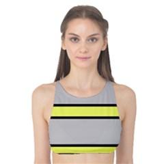 Yellow and gray lines Tank Bikini Top