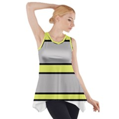 Yellow And Gray Lines Side Drop Tank Tunic
