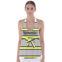 Yellow and gray lines Babydoll Tankini Top