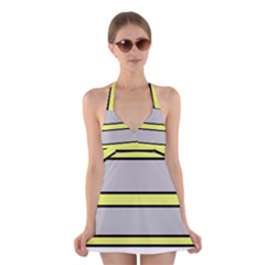 Yellow And Gray Lines Halter Swimsuit Dress