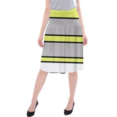 Yellow and gray lines Midi Beach Skirt