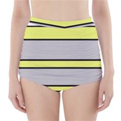 Yellow and gray lines High-Waisted Bikini Bottoms