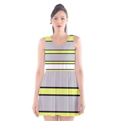 Yellow and gray lines Scoop Neck Skater Dress