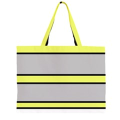 Yellow and gray lines Zipper Large Tote Bag