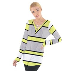 Yellow And Gray Lines Women s Tie Up Tee