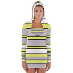 Yellow and gray lines Women s Long Sleeve Hooded T-shirt