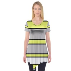 Yellow and gray lines Short Sleeve Tunic