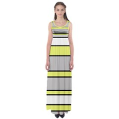 Yellow and gray lines Empire Waist Maxi Dress