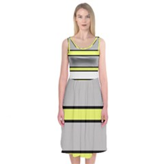 Yellow and gray lines Midi Sleeveless Dress