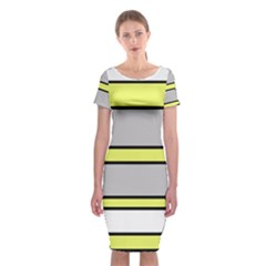 Yellow And Gray Lines Classic Short Sleeve Midi Dress