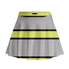 Yellow and gray lines Mini Flare Skirt