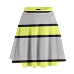Yellow and gray lines High Waist Skirt