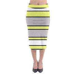 Yellow And Gray Lines Midi Pencil Skirt