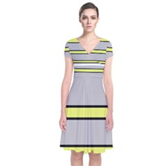 Yellow And Gray Lines Short Sleeve Front Wrap Dress