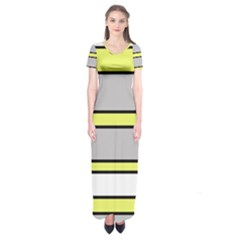 Yellow And Gray Lines Short Sleeve Maxi Dress
