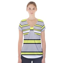 Yellow And Gray Lines Short Sleeve Front Detail Top