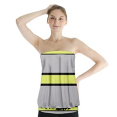 Yellow And Gray Lines Strapless Top