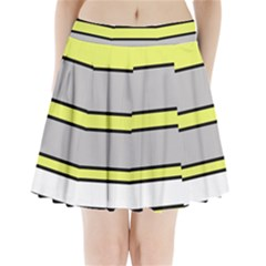 Yellow And Gray Lines Pleated Mini Mesh Skirt
