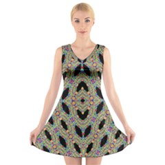 TIME SPHERE V-Neck Sleeveless Skater Dress