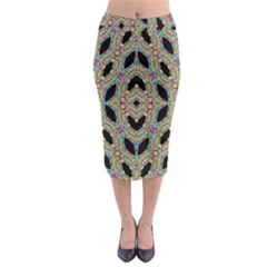 Time Sphere Midi Pencil Skirt