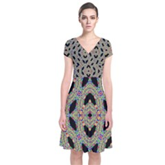 TIME SPHERE Short Sleeve Front Wrap Dress