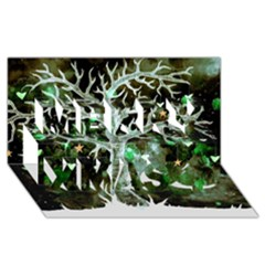 Tree Hearts & Stars (invert) Merry Xmas 3D Greeting Card (8x4)