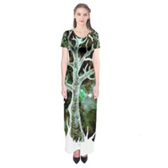 Tree Hearts & Stars (invert) Short Sleeve Maxi Dress