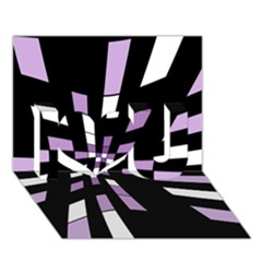 Purple abstraction I Love You 3D Greeting Card (7x5)