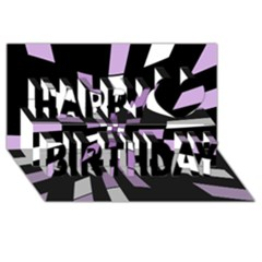 Purple abstraction Happy Birthday 3D Greeting Card (8x4)