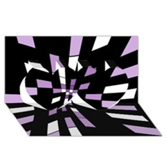 Purple abstraction Twin Hearts 3D Greeting Card (8x4)