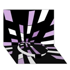 Purple abstraction Circle Bottom 3D Greeting Card (7x5)