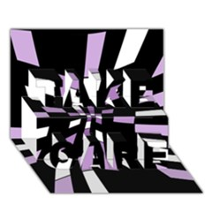 Purple abstraction TAKE CARE 3D Greeting Card (7x5)