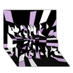Purple abstraction You Rock 3D Greeting Card (7x5)
