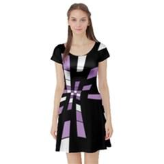 Purple abstraction Short Sleeve Skater Dress