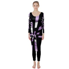 Purple abstraction Long Sleeve Catsuit