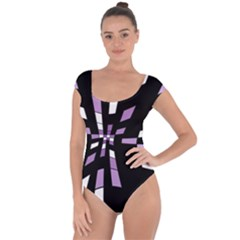 Purple abstraction Short Sleeve Leotard