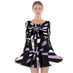Purple abstraction Long Sleeve Skater Dress