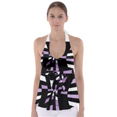 Purple Abstraction Babydoll Tankini Top