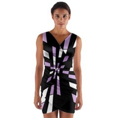 Purple abstraction Wrap Front Bodycon Dress