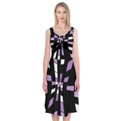 Purple Abstraction Midi Sleeveless Dress