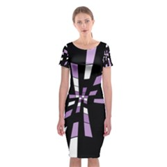 Purple Abstraction Classic Short Sleeve Midi Dress