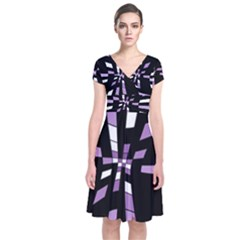 Purple abstraction Short Sleeve Front Wrap Dress