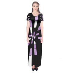 Purple Abstraction Short Sleeve Maxi Dress