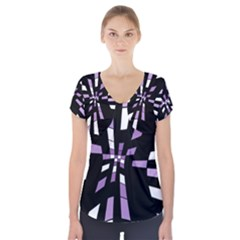 Purple abstraction Short Sleeve Front Detail Top