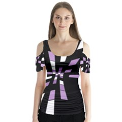 Purple Abstraction Butterfly Sleeve Cutout Tee