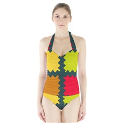 4 shapes                                                                                 Women s Halter One Piece Swimsuit