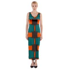 3 Colors Shapes Pattern                                                                                  Fitted Maxi Dress