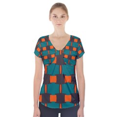 3 Colors Shapes Pattern                   Short Sleeve Front Detail Top