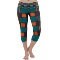3 Colors Shapes Pattern      Capri Yoga Leggings