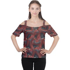 Red Grey 3d Design                                                                                    Women s Cutout Shoulder Tee